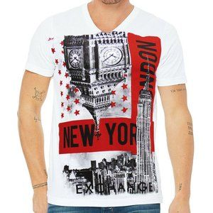 EXCHANGE MEN'S WHITE V-NECK T-SHIRT SIZE S M L XL